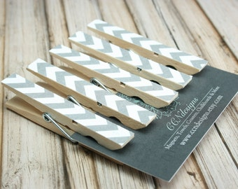 Gray Chevron Clothespin Magnets, Set of 5