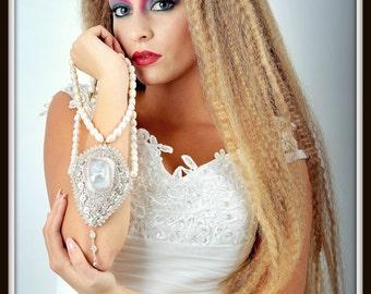 Beadwoven Diamond Bridal  Pearl Necklace. Winter Wedding. Statement Necklace. Beach Classic Romantic- OOAK Wedding by enchantedbeads on Etsy