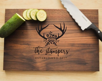 Personalized Cutting Board - Engraved Cutting Board, Antler Deer Cutting Board, Wedding Gift, Housewarming Gift, Anniversary, Christmas Gift