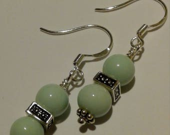 Light Turquoise & Sterling Silver Beaded Earrings
