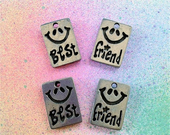 Best Friends Disc Charms --6 pieces-(Antique Pewter Silver Finish)--style 931