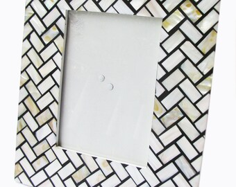 Herringbone Mother Of Pearl Photo Frame