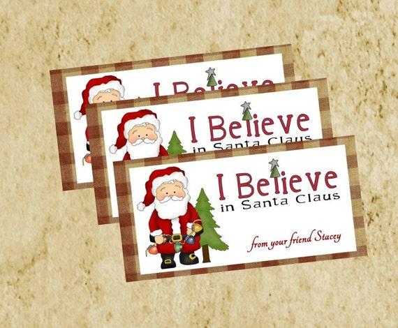 Christmas Treat Bag Topper/DIY Printable/Primitive Homespun Red checked Santa Tag