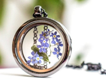 Forget Me Not Jewelry, Forget Me Not Necklace, Terrarium Necklace, Locket Necklace, Memorial Necklace, Dainty Necklace, Real Flower Necklace