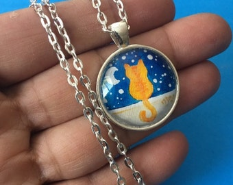 """Ginger Cat Painted Pendant, 1"""" round mini acrylic painting set in a pendant tray"""