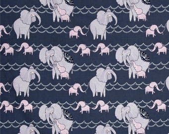 "New Elephant Fabric: Dear Stella Dreamscape Elephants Pewter  100% cotton fabric by the yard 36""x43"" (TT34)"