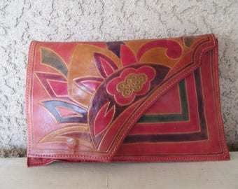 80s Tooled Leather Clutch Bag Purse Geo Floral Motif Ethnic Flair Vintage 1980s Resort Chic