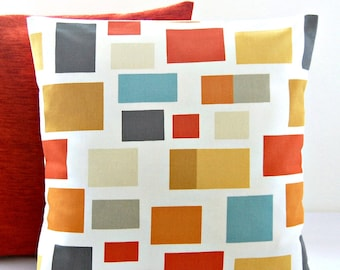 abstract blocks cushion cover burnt orange, mustard yellow, 16 inch decorative throw pillow cover
