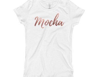 Flex in your complexion with this Mocha girl's short sleeve t-shirt with rose gold