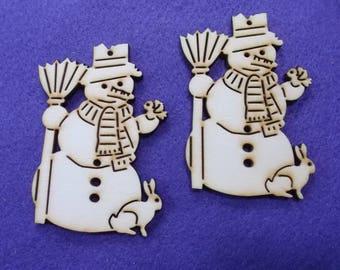 Snowman, wood, 2 pieces, 8 x 6 cm (14-0009B)