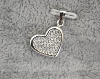 Sterling silver pendant Graciela, silver 925, fine jewelry, heart, zircon stone