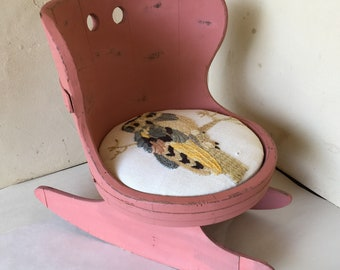 Vintage OOAK Painted Child's Rocking Chair with Needlepoint Owl Seat