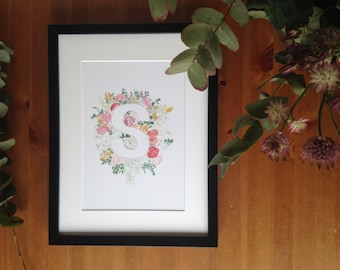 Letter S Floral Art Print | Watercolour Painting, Botanical Print, Hand Painted Nursery Decor, Initial Wall Art, Floral Archival Print