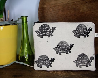 Tortoise canvas pouch | cotton pouch | hand stamped print | hand carved | tropical print | zippered pouch