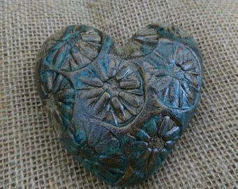 Handmade ceramic,rustic, textured, keepsake heart/ornament. Paperweight Housewarming gift Friendship token.