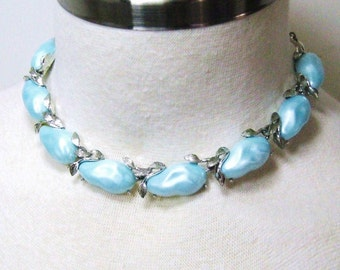 Vintage 50s Necklace BSK Blue Choker Signed Jewelry, Thermoset Baroque Nugget Beads + Silver Tone, Adjustable Length, Mid Century Designer