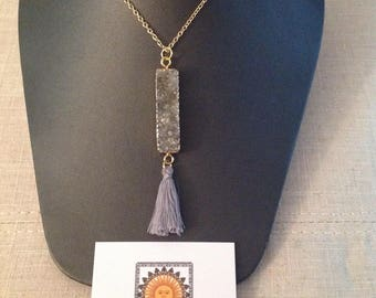 14K Gold Filled Gray Druzy Tassel Necklace/Gift/Present/Trending/Fashion/Pendant