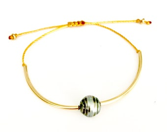 Tahitian Pearl Bracelet, Adjustable, Tahitian Pearls, 14K gold filled.