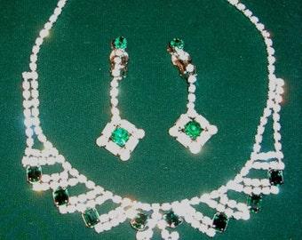 Reduced 1950s Kramer Bibb Necklace Clip Back Earrings, Square Cut Emeralds, Rhinestones - item 734, Jewelry
