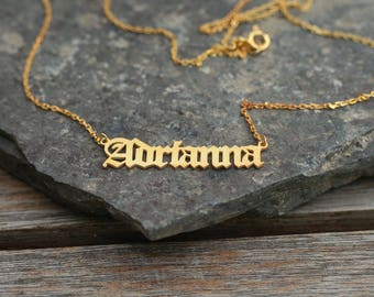 Old English Personalized Name Necklace • Custom Necklace • Personalized Jewelry •  Name Choker • Gold name necklace