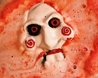 Let's Play a Game Bath Bomb - Scary Mask Horror Bath Fizzy, Saw Fandom, Bath Fizzies Art, Scary Christmas Gift, Unique Jigsaw Fizzie