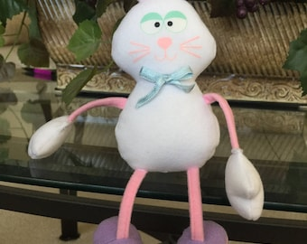 Plush Bunny Rabbit Shelf Sitter/Toy w/ Dangling Legs, White