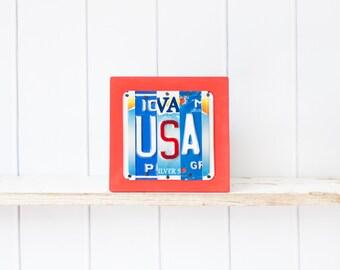 USA Sign, USA art, USA vacation, usa souvenir, usa military gift, travel usa, United States of America sign, usa license plate art, america