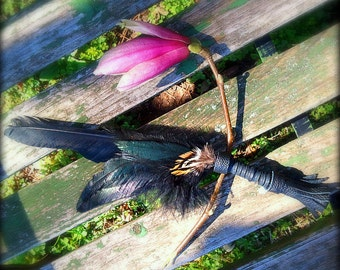 Smudge Fan-Crow-Raven-Pay with PayPal get a free spell in the box! Black 1 Feather Fan-Ceremonial-Storytelling Fan-Cruelty free feathers