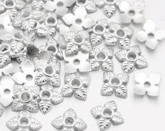 50 bead caps Silver Flower 6 x 6 mm