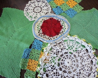 Vintage Hand Crochet Multi Colored Doilies Crocheted Floral Cottage / Shabby Chic Antique Lot of 7 Lace