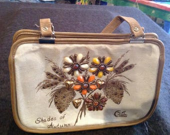 """Vintage Enid Collins jeweled canvas & leather purse """"Shades of Autumn """""""