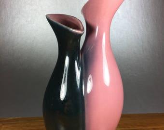 Mid Century Pink/Black Vase
