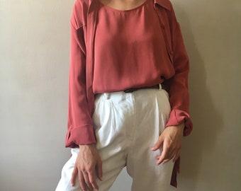 Vintage two piece silk blouse
