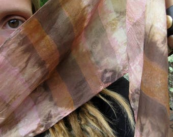 Naturally Dyed Silk Scarf - Raspberry Chocolate - Complex Cloth