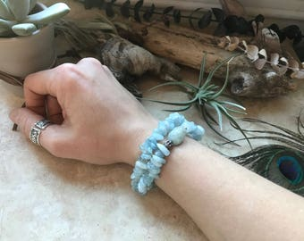 Aquamarine Wrap Bracelet with Sterling Silver Beads