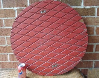 """Large 23 1/2"""" Wooden Foundry Mold Man Hole Cover"""