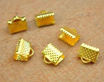 50pcs Gold Ribbon Crimp,Crimp Beads,Ribbon Clamps Gold Tone Cord Coupler Band fastener Clips Crimp Ends,crimp ends,Ribbon Crimp End--8mm.