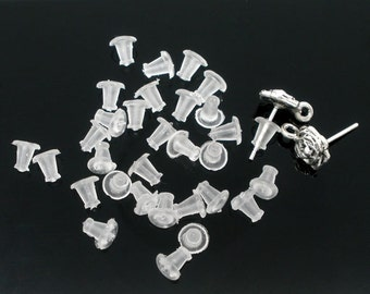 50 Pairs (100 Pieces) Clear Rubber Back Earring Stoppers