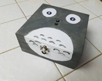 Hand painted Totoro anime fan lover wooden treasure box
