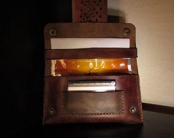 blague a tabac en cuir marron vintage