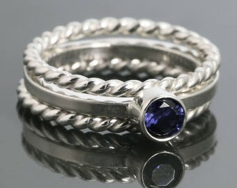 3 Stackable Rings: 1 Lab-Created Birthstone Ring & 2 Twisty Rings. Sterling Silver. Made to Order.