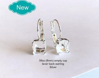 39ss (8mm) Silver empty cup leverback