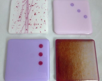 Fused Glass Coasters in Beautiful Pink, Iridescent Fuchsia Pink and Lilac - set of 4
