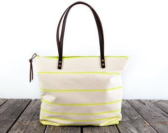 The Everyday Tote in CITRON Stripe  //  Canvas Tote Bag  //  Large Zipper Tote  //  Leather Straps