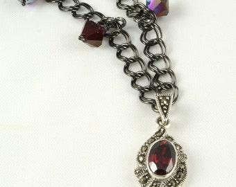 Black Cherry - Handmade Marcasite and Garnet Necklace