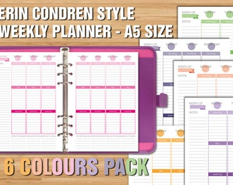 Erin Condren style printable weekly planner A5 size box week planner vertical layout