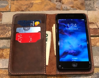 iPhone 8 Plus Case, iPhone 8 Plus Leather Wallet Case, Folio Flip Leather Cover Case, Father's Day