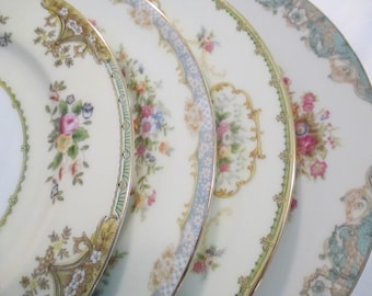 Vintage Mismatched China Dinner Plates for Farmhouse, Rustic, Shabby, Weddings,Bridal Luncheon, Wedding China, Cottage Chic-Set of 4
