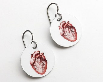 Anatomical Heart Earrings Medical School Graduation jewelry gift skull doctor nurse practitioner physician assistant student anatomy teacher