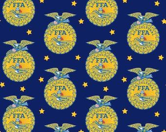 FFA Forever Blue, FFA Logo Fabric, Future Farmers of America Logo, Riley Blake Quilting-Weight Cotton, FQ